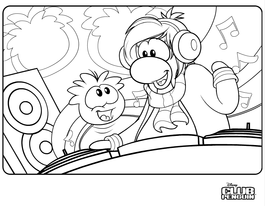 Red puffle coloring pages